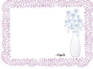 フリー素材:フレーム;北欧風のくすんだピンクのレースの飾り枠と花瓶と花;640×480pix