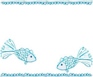フリー素材:バナー広告;シャーベットカラーのブルーのガーリーな熱帯魚のイラストとレースの飾り罫;300×250pix