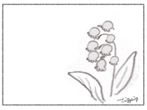 フリー素材:花のフレーム;北欧風デザインのモノトーンのクレヨン画のすずらん;640×480pix