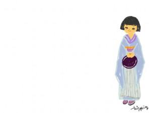 フリー素材:和ガール;ポップで大人可愛い着物の女の子のガーリーイラスト;640×480pix