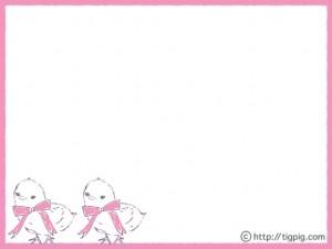 フリー素材:フレーム;ガーリーな鉛筆画の大きなピンクのリボンのひよこ2匹;640×480pix