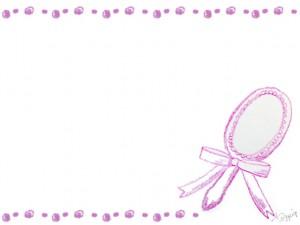 フリー素材:フレーム;シャーベットカラーのガーリーなピンクの色鉛筆の手鏡;640×480pix