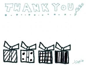 フリー素材:フレーム;大人可愛いシャーベットカラーのTHANK YOU!の手書き文字とギフトボックス;640×480pix