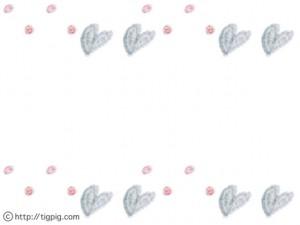 フリー素材:フレーム;ガーリーなクレヨン画のドットとグレーのハートいっぱいの飾り枠;640×480pix