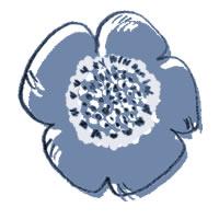 フリー素材:アイコン(twitter):北欧レトロな版ずれ風の青いケシの花のイラスト;200×200pix