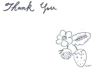 フリー素材:フレーム;北欧風デザインの鉛筆画のイチゴと花のイラストとThankYouの手描き文字;640×480pix