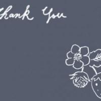 フリー素材:フレーム;黒板に描いたような北欧風デザインの鉛筆画のイチゴと花のイラストとThankYouの手描き文字;640×480pix