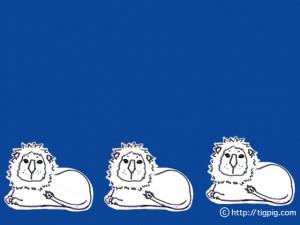 フリー素材:フレーム;北欧風の青の背景の色遣いが大人可愛いライオン;640×480pix