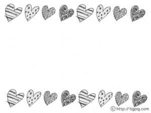 モノトーンのハートのイラストのフリー素材:ペン画の大人可愛い模様の飾り枠;640×480pix