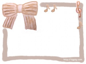 森ガール風の水彩のストライプのリボンと音符とト音記号のフレームのフリー素材;640×480pix