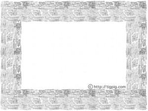 モノトーンの鉛筆画の大人可愛い飾り枠のフリー素材;640×480pix