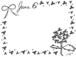 モノトーンの鉛筆画の紫陽花とリボンとjune6の手書き文字のフレームのフリー素材;640×480pix