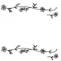フリー素材:アイコン(twitter);モノトーンの花とツルのラインの飾り枠;200×200pix