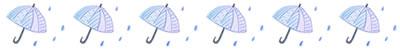 フリー素材:飾り罫;水彩の傘と雨のガーリーイラスト