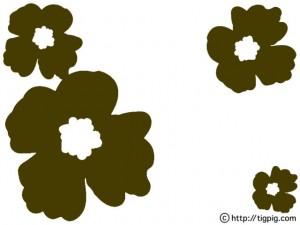 フリー素材:フレーム;北欧風のレトロなブラウンのケシの花;640×480pix