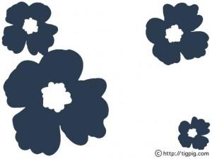 北欧ビンテージファブリック風のレトロポップな紺色のケシの花