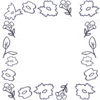 フリー素材:アイコン(twitter可);北欧風のモノトーンの花と葉のフレーム;200×200pix