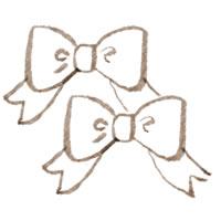 フリー素材:アイコン(twitter可);セピア色の大人可愛いりぼん;200×200pix