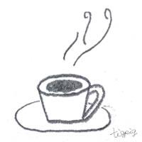 フリー素材:アイコン(twitter可);モノトーンの大人可愛いコーヒー(コーヒーカップ);200×200pix