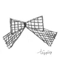 フリー素材:アイコン(twitter可);大人可愛いモノトーンのクレヨン画のチェックのりぼん;200×200pix