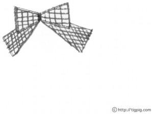 フリー素材:フレーム;大人ガーリーなグレーの手描きのりぼん;640×480pix