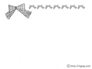 フリー素材:フレーム;大人ガーリーなグレーの手描きの大小のりぼんのライン;640×480pix
