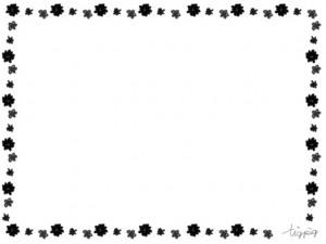 フリー素材:フレーム;モノトーンの大人可愛い小花のラインの飾り枠;640×480pix