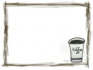フリー素材:フレーム;モノトーンの大人可愛い小紙コップのコーピーとラフな茶色のラインの飾り枠;640×480pix