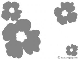 フリー素材:フレーム;北欧風のモノトーンのケシの花;640×480pix