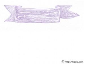 フリー素材:シャーベットカラーの紫色のリボンの北欧風の見出し;640×480pix