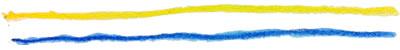 フリー素材:飾り罫;大人可愛い水彩色鉛筆の黄色と青のラフなラインの飾り罫;400×50pix