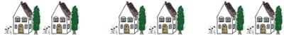 フリー素材:飾り罫;北欧風の大人可愛い家のイラスト;400×50pix