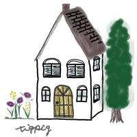 アイコン(twitter)のフリー素材:北欧風の大人可愛い家のイラスト;200×200pix