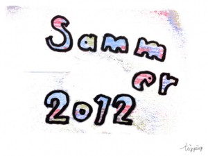フリー素材:フレーム;荒れた質感とポップな色遣いが大人可愛い2012summerの手書き文字;640×480pix