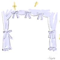 アイコン(twitter)のフリー素材:大人可愛いシャーベットカラーのブルーのカーテンとリボンとキラキラ;200×200pix