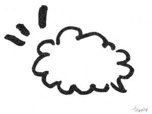 フリー素材:フレーム;モノトーンの手描きのふわふわのフキダシ;640×480pix