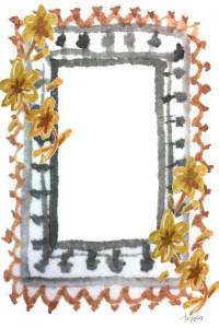 フリー素材:iphone4,壁紙,待受;ガーリーな水彩のレースとお花のフレーム;960×640pix