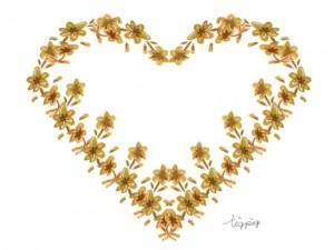 フリー素材:フレーム;大人可愛い水彩の小花のハートの飾り枠;640×480pix