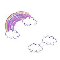 パターン(壁紙)のフリー素材:虹と雲の水性ペンみたいなポップなイラスト;200×200pix