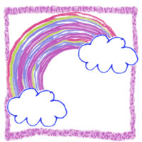 フリー素材:アイコン(twitter可);水彩ペン風大人可愛い手描きの虹と雲;200×200pix