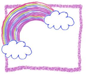 フリー素材:バナー広告;ポップで大人可愛いペン画風の虹と雲:300×250pix