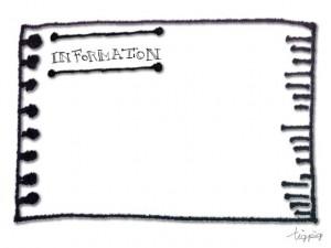 フリー素材:フレーム;大人可愛い手書き文字のINFORMATIONとノートの切れ端のフレーム;640×480pix