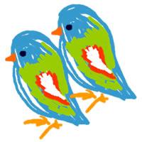 アイコン(twitter)のフリー素材:青い鳥の大人可愛いイラスト;200×200pix