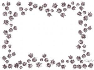 フリー素材:フレーム;北欧風の茶色の小花のポップなフレーム;640×480pix