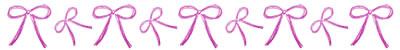 フリー素材:飾り罫;大人可愛いピンクのリボンの飾り罫;400×50pix