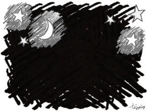フリー素材:フレーム;森ガール風の大人可愛い夜空のイラスト;640×480pix