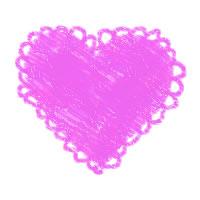 アイコン(twitter)のフリー素材:クレヨン画風のピンクのレース付きのハート;200×200pix