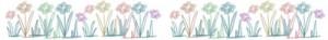 フリー素材:飾り罫;大人可愛い色鉛筆画風の花;400×50pix