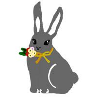 大人可愛いアイコンのフリー素材:ガーリーなうさぎのイラスト;200×200pix