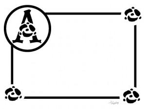 大人可愛いフリー素材:モノトーンのバラとAの飾り文字のフレーム;640×480pix